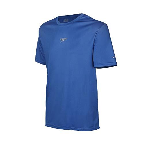 Speedo Interlock Camiseta de Manga Curta, Homens, Azul, M