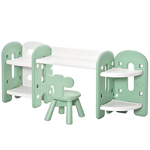 HOMCOM Pupitre Infantil 2 en 1 con Estantería Conjunto de Mesa Escritorio y Silla para Niños con 4 Estantes de Almacenaje para Libros Juguetes 150x35x62,5 cm Verde y Blanco