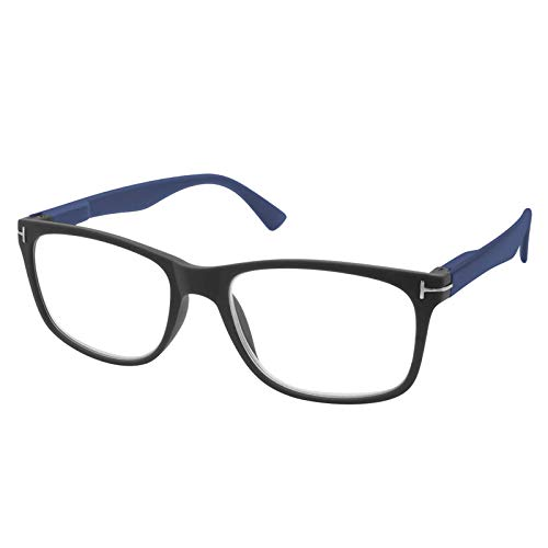 TBOC Gafas de Lectura Presbicia Vista Cansada – Graduadas +2.00 Dioptrías Montura Negra Mate Patillas Azules de Diseño Moda para Hombre Mujer Unisex Lentes de Aumento Leer Ver Cerca Bisagras Resorte