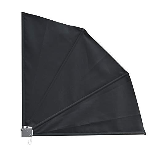 Outsuuny Toldo Lateral Plegable de Balcón 120x120 cm en Forma de Abanico Aluminio con Soporte de Pared para Suelo Terraza Patio Gris Oscuro