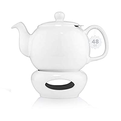 SAKI Large Porcelain Teapot with Candle Warmer, 48 Ounce Tea Pot with Infuser, Loose Leaf and Blooming Tea Pot - White