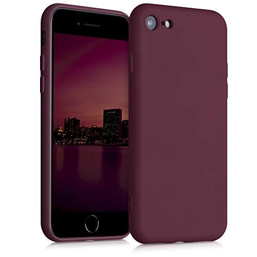 kwmobile Carcasa Compatible con Apple iPhone 7/8 / SE (2020) - Funda de Silicona TPU para móvil - Cover Trasero en Rojo Vino