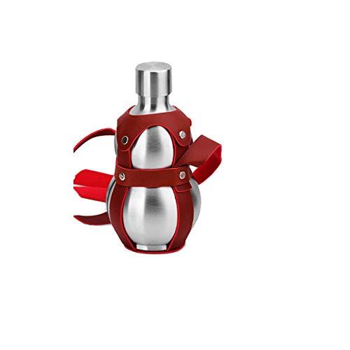 Jiansheng Kürbisflasche, Outdoor-Leder-Schultergurt, hochwertiger Edelstahl 304, Kürbisform, 100% auslaufsicher, geeignet für Weinbrand, Whisky usw. (250 ml, 500 ml, 1500 ml), DREI Stile zur Auswahl