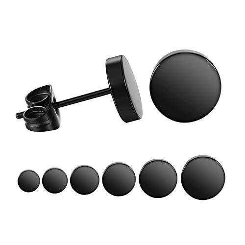 LIEBLICH Black Round Stud Earrings Set Stainless Steel Ear Studs for Men Women 6 Pairs 3mm-8mm … (Black)