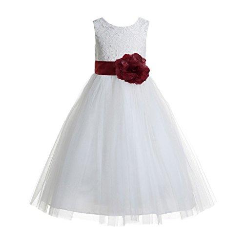 wine red girl dresses - 8
