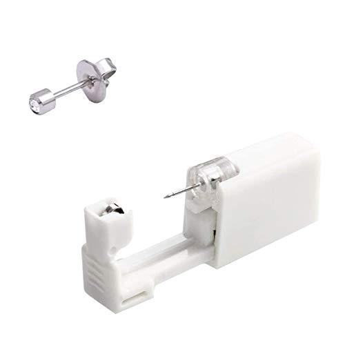 Pppby Juego de 1 pieza desechable de acero quirúrgico + 1 pieza de piercing de oreja sin gérmenes para hombres y mujeres