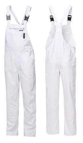 HighMax Latzhose Arbeitshose 100% Baumwolle 280G Weiß Maler Malerhose (44)