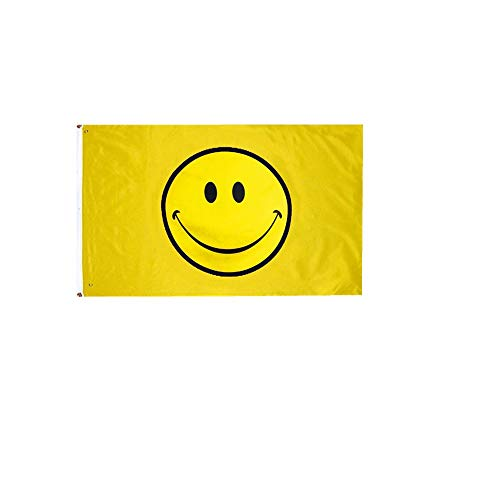 Stormflagchina Fahnen mit gelbem Smiley-Gesicht, 90 x 150 cm, Polyester mit Ösen und doppelt genäht