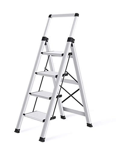 XinSunho 脚立 はしご オレンジ アルミ 持ち運び便利 持ち手付き 軽量 折りたたみ脚立 踏み台 (4段)