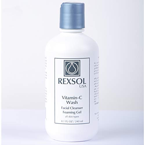 REXSOL Vitamin-C Wash Facial Cleanser Foaming Gel   With 15% Vitamin C, A & E   Anti-Aging, Reduce Wrinkle - Clear Skin Pores   Brings Freshness, Comfort & Hydrating Face. (240 ml/8.1 fl oz)