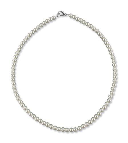 Rivelle Damen Perlenkette 40 cm Perle 5 mm creme Kette Perlen Collier Halsschmuck Necklace Geschenk-Box