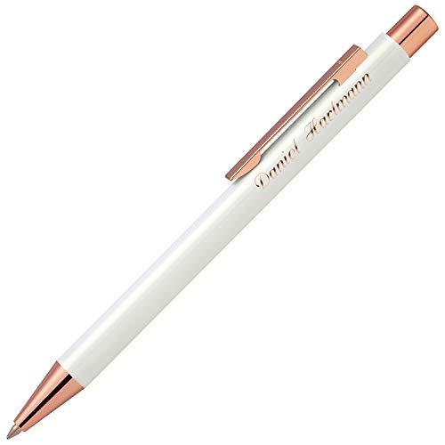 Cadenis Metall Kugelschreiber STRAIGHT RO rosé weiß mit persönlicher Hochglanz-Gravur