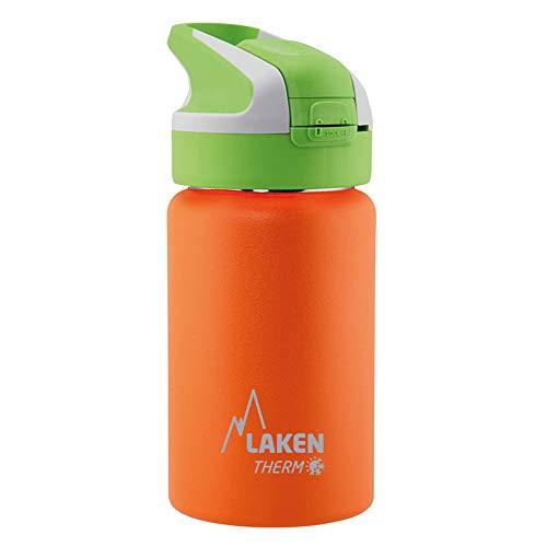 Laken Botella Térmica Reutilizable Summit de Acero Inoxidable con Tapón Automático y Cierre de Seguridad, 500ml, Naranja