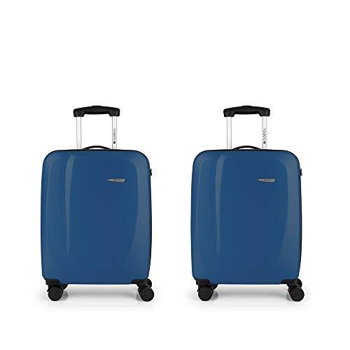 Gabol - Line | Juego de Maletas de Viaje Rigidas de Color Azul con 2 Maletas de Cabina