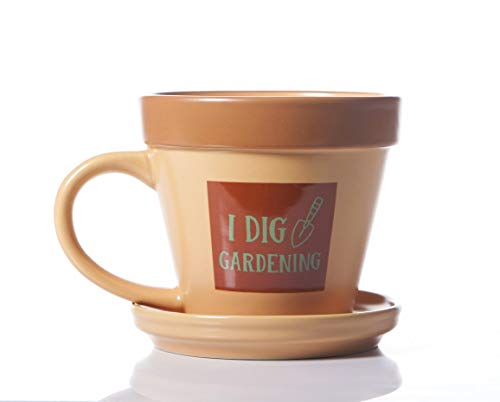 Boxer Gifts Dig Gardening Plant Pot Mug | Funny Gift for Him or Her | Comes with Saucer | Ceramic, 10 Fluid_Ounces