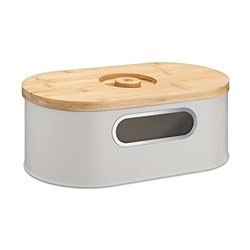 Navaris Brotkasten mit Deckel aus Holz - Brotbox zur Aufbewahrung inkl. Schneidebrett - Brottopf Küche mit Holzdeckel - Brot Dose Bambus oval - Taupe