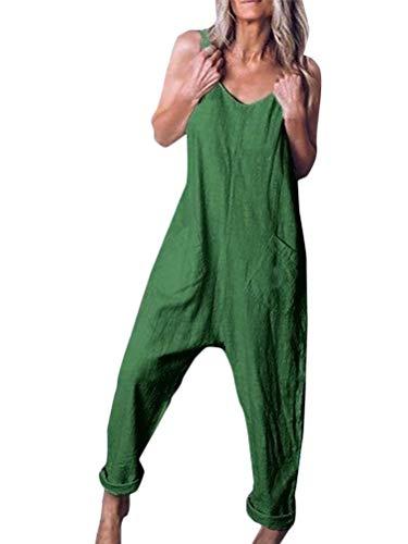 Tomwell Damen Beiläufig Latzhose Jumpsuits Bib Hose Leinen Casual Loose Overall Lange Wide Leg Hosen A Grün DE 40