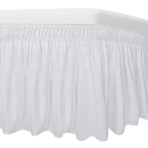 Easy-Going Bed Skirt for Queen or King Size Bed, 14 Inch Tailored Drop, Fitted with Adjustable Elastic Belt, Convenient to Use Without Lift The Mattress (Queen/King, White)