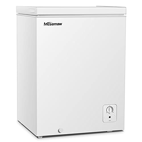 Nictemaw Chest Freezer - 3.4 Cu.Ft with Removable Basket - Energy Saving & Quiet Compact Freezer - 3 Temperature Settings (-18.4 °F to 39.2 °F)- For House, Kitchen, Garage, Basement, Shop- White