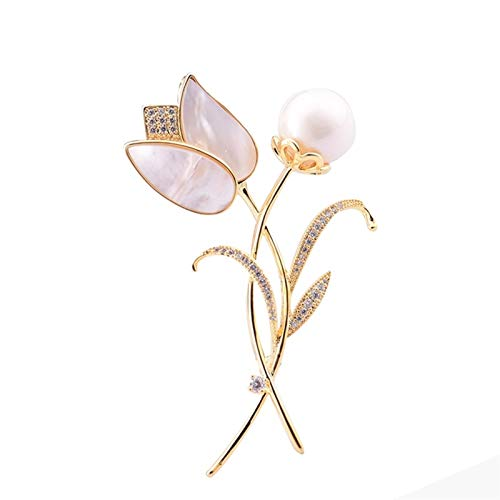 RHGEIUCISY Brodo Tulipani Ms. Pin di Fiori di Cristallo di Cristallo di Alta Gamma .Spilla delle Signore