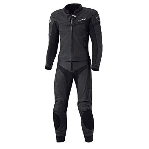 Held SPIRE 2-teiliger Anzug für Herren aus schwarzem Rindsleder, SAS-TEC Steißbeinschutz, Belüftungsreißverschlüsse, Stretch Bündchen 48