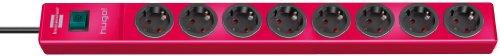 Brennenstuhl hugo! Steckdosenleiste 8-fach (mit Schalter und 2m Kabel, Gehäuse aus bruchfestem, stabilem Polycarbonat) rot
