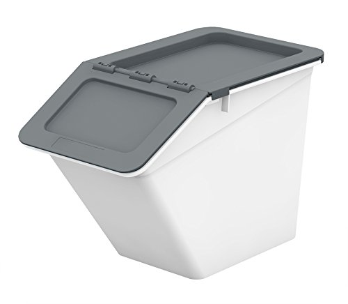 livinbox PP Plastic Pelican Stackable Storage Bins Cubes Containers Box with Hinged Lids, 13L ,MHB-2341 - Grey