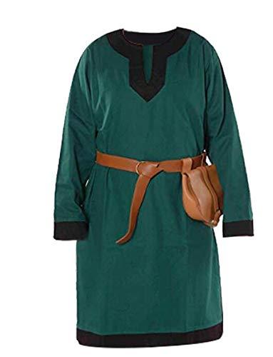 Middeleeuwse Viking tuniek kostuum heren lange Shirt Top Pirate kostuum