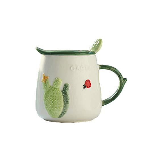 YHCS Kaktus Kreative Keramik Tasse mit Deckel Löffel, Haus süße Wasser Tasse/Büro Kaffeetasse, Milch Frühstück Tasse/Saft Trinken Tasse/Teac Tasse