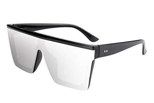 FEISEDY Gafas de Sol Hombre Cuadradas de Lente Siamés de Moda UV400 Gafas de Sol Grandes con Tapa Plana para Hombre y Mujer B2470