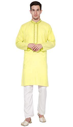 SKAVIJ Herren Baumwolle Kurta Pyjama Indischer Ethnisch Set (Gelb, Large)