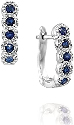 14k Solid White Gold Diamond & Sapphire Hoop Earrings - Certified Natural Diamonds - Halo Set Diamonds - Mother's Day Gift (3g, 0.69 ctw, 74 stones)