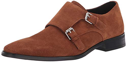 Calvin Klein Men's Monk Strap Suede Shoes Loafer, Tan, 8.5