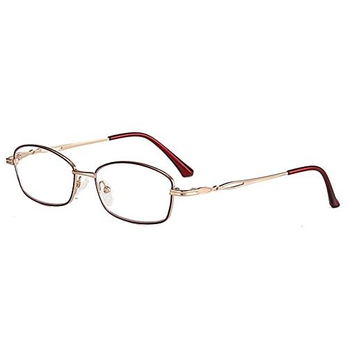 HQMGLASSES Gafas de Lectura Anti-Azul/Anti-radiación de Damas, Lector de Lentes de Resina HD Diopter +1.0 a +3.0,Rojo,+1.0