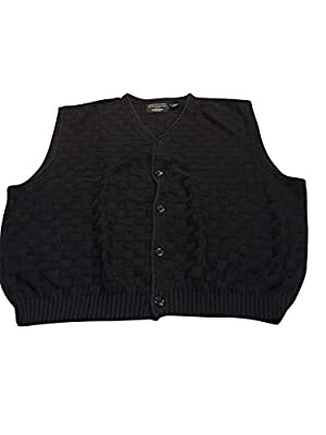 StoutMensShop Big and Tall USA Made Black Check All Cotton Sleeveless Cardigan Sweater Vest (5X Big) from