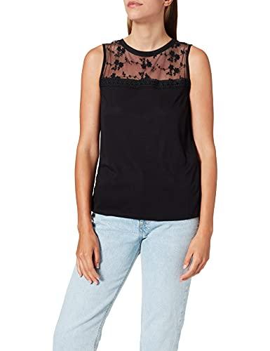 Springfield Camiseta Escote Lace Transparencias, Negro, XL para Mujer