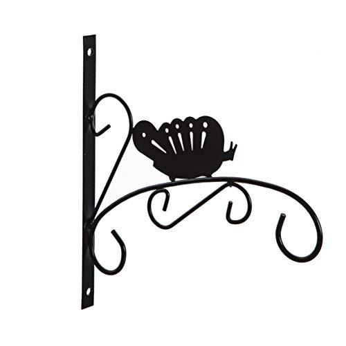 Wedestock Patère en métal Noir pour jardinière, Corbeille à Suspendre Motif Papillon
