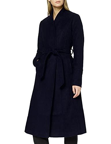 Marchio Amazon - find. Cappotto Lungo con Cintura Donna, Blu (Blue), 48, Label: XL