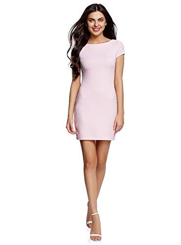oodji Ultra Mujer Vestido de Tejido Texturizado con Escote Barco, Rosa, ES 38 / S