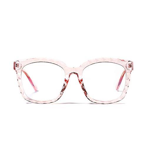 JJZXT Cómodo Y Fuerte Marco El Plastico Eyewear, Superligero Montura Gafas Cuadradas, Moda Sencillez Montura Gafas De Media Marcos, for Damas, Hombres,Rosado