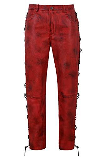 Smart Range Pantalón de Cuero Biker para Hombre Estilo de Motocicleta con cordón Rojo Sucio, 100% Piel de Cordero 00126 (Waist 38