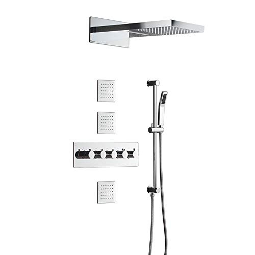 Great Price! Chenteshangmao Constant Temperature Rain Shower Set in-Wall Concealed Shower Head Acces...