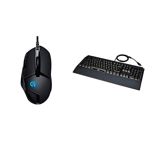 Logitech G402 Hyperion Fury Gaming-Maus, 4000 DPI Optischer Sensor, 8 Programmierbare Tasten, Taste zur DPI-Umschaltung, Schwarz & Amazon Basics - Programmierbare mechanische PC-Gaming-Tastatur