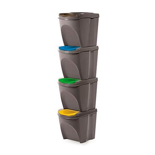 Prosperplast Juego de 4 Cubos de Reciclaje 100L Sortibox de plastico en Color Gris, 4x25L