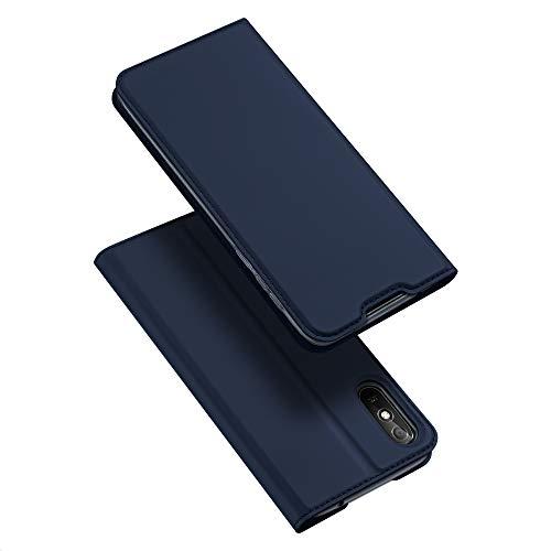 DUX DUCIS Hülle für Xiaomi Redmi 9A, Leder Klappbar Handyhülle Schutzhülle Tasche Hülle mit [Kartenfach] [Standfunktion] [Magnetisch] für Xiaomi Redmi 9A (Blau)