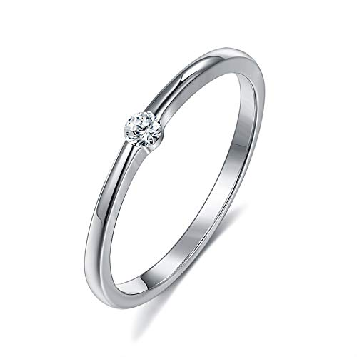 Rockyu ブランド 人気 指輪 レディース プラチナ シルバー925リング 一粒 ダイアモンド指輪 結婚指輪 シンプル甲丸 細身ピンキーリング ジルコニア 2mm (プラチナ, 11)