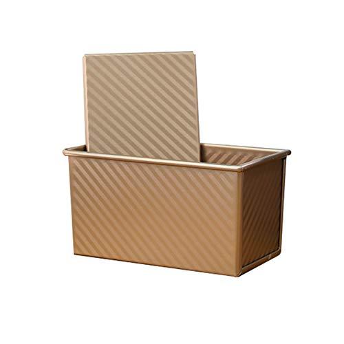 Antihaft-Kastenform mit Deckel zum Backen, 0,9 kg, Karbonstahl, Brot, Toast, Form mit Schiebedeckel, goldfarben