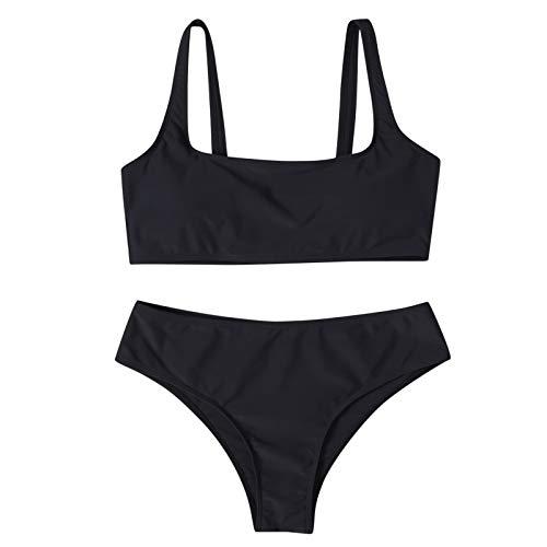 Conjunto de Bikini brasileño de Verano de Dos Piezas para Mujer, Trajes de baño Sexis con Relleno, Ropa de Playa sólida de Moda para Piscina