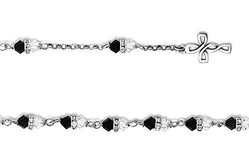 Katholieke Gift Shop Ltd 925 sterling zilver zwart Swarovski kristal rozenkrans armband & lourdes gebedskaart