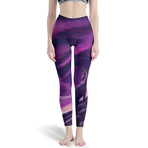LPLoveYogaShop Leggings para mujer, diseño de caballo y cielo, ideal para hacer yoga blanco L